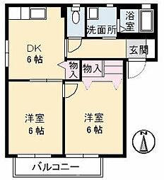 ファミーユ中野A棟[202号室]の間取り