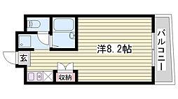 JR東海道・山陽本線 東加古川駅 徒歩7分の賃貸マンション 6階ワンルームの間取り