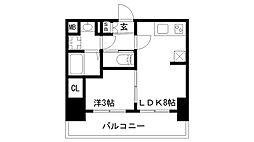 プレサンス兵庫駅前 9階1LDKの間取り