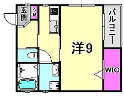 CoLaBo津門呉羽町 2階1Kの間取り