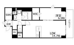 新芦屋ビル 5階1LDKの間取り