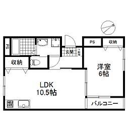 東京都狛江市岩戸南1丁目の賃貸アパートの間取り