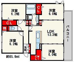 福岡県福岡市城南区七隈1丁目の賃貸アパートの間取り