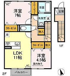 JR高徳線 神前駅 4kmの賃貸アパート 2階2LDKの間取り