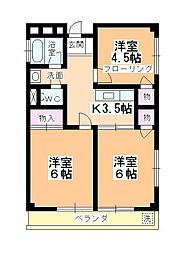 内田ハイツ霞ヶ関[101号室]の間取り