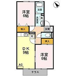 セジュール西岡崎B[102号室]の間取り