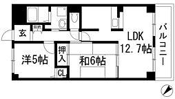 クレール東多田[1階]の間取り