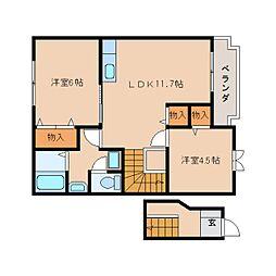 近鉄天理線 二階堂駅 徒歩3分の賃貸アパート 2階2LDKの間取り