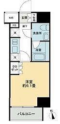 JR山手線 五反田駅 徒歩9分の賃貸マンション 2階1Kの間取り
