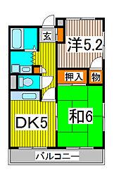 富田マンション[301号室]の間取り
