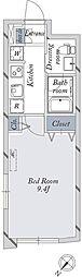 東京メトロ丸ノ内線 新大塚駅 徒歩8分の賃貸マンション 3階1Kの間取り