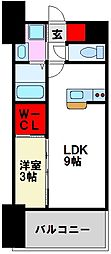 LIFEFIELD二日市駅前 3階1LDKの間取り