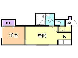 VILLA・POPOROIII 2階1LDKの間取り