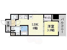 コンフォリア江坂 12階1LDKの間取り