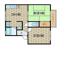 兵庫県神戸市長田区山下町1丁目の賃貸アパートの間取り
