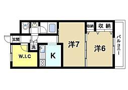 楠本第二ビル 6階2Kの間取り