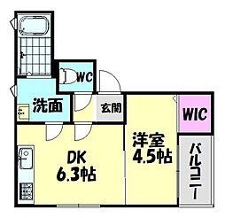 南海線 北助松駅 徒歩7分の賃貸アパート 1階1DKの間取り