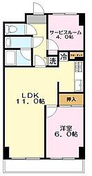 神奈川県川崎市麻生区細山1丁目の賃貸マンションの間取り
