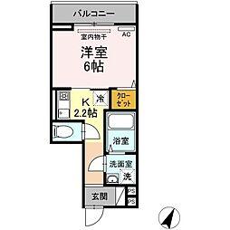 Chou Chou 3階1Kの間取り