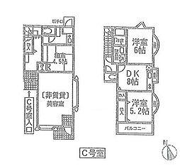 [テラスハウス] 神奈川県横浜市都筑区北山田7丁目 の賃貸【/】の間取り