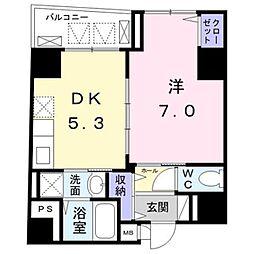 東京メトロ銀座線 末広町駅 徒歩5分の賃貸マンション 5階1DKの間取り