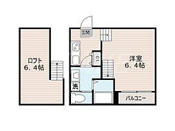 福岡県福岡市東区馬出2丁目の賃貸アパートの間取り