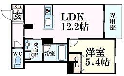 JR東海道・山陽本線 甲南山手駅 徒歩10分の賃貸マンション 1階1LDKの間取り