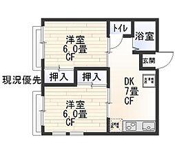 神奈川県横浜市中区池袋の賃貸アパートの間取り