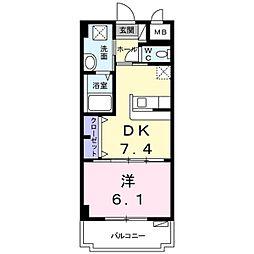 サンライズヒル 4階1DKの間取り