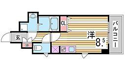 スワンズ新神戸ウィータ 6階ワンルームの間取り
