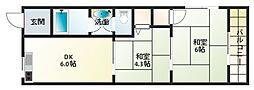 金田コーポ[3階]の間取り