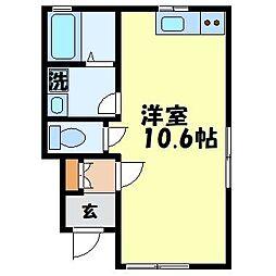 アイハウス栄田B 1階ワンルームの間取り