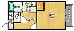 大阪府寝屋川市河北中町の賃貸アパートの間取り