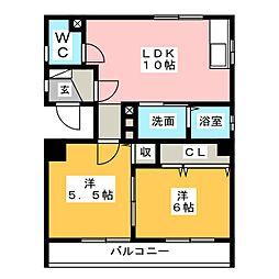 アビタシオン二瀬[1階]の間取り