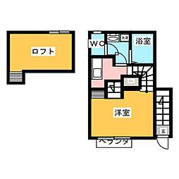 宮城県仙台市若林区五十人町の賃貸アパートの間取り