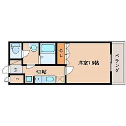 JR関西本線 王寺駅 バス10分 下牧南口下車 徒歩1分の賃貸マンション 2階1Kの間取り