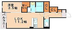 西鉄天神大牟田線 雑餉隈駅 徒歩3分の賃貸アパート 1階1LDKの間取り