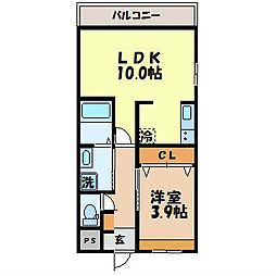 長崎県諫早市栗面町の賃貸アパートの間取り