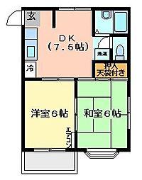 ヒルトップ五番館[2階]の間取り