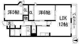 兵庫県宝塚市平井山荘の賃貸マンションの間取り