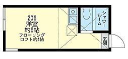 神奈川県横浜市中区本郷町2丁目の賃貸アパートの間取り