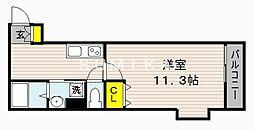 サンステージ大和町 2階1Kの間取り