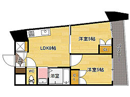JR鹿児島本線 博多駅 徒歩10分の賃貸マンション 2階2DKの間取り
