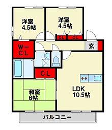 グロワールM B棟[2階]の間取り