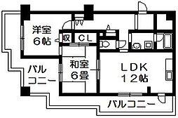 エスク・ドーム 島之内2 吉田7分[7階]の間取り