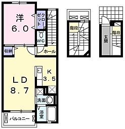 東京都羽村市富士見平2丁目の賃貸アパートの間取り