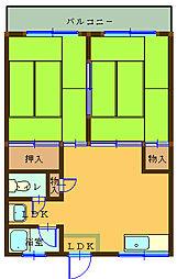 マンション宮下A 2階2DKの間取り