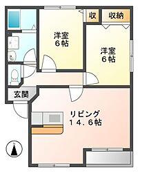 岐阜県美濃加茂市中部台2丁目の賃貸アパートの間取り