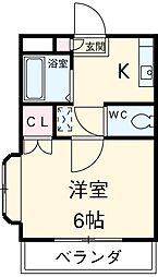愛知県安城市東栄町1丁目の賃貸アパートの間取り