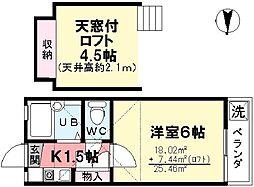 第9コーポ今川[206号室]の間取り